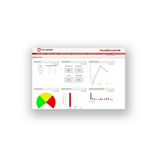 image du logiciel pour contrôleur de chocs en entrepôt EquipCOMMAND