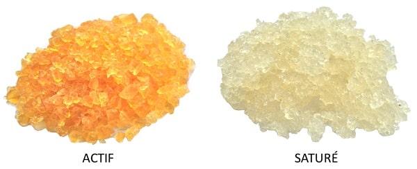 image du déshydratant Gel de Silice actif et saturé