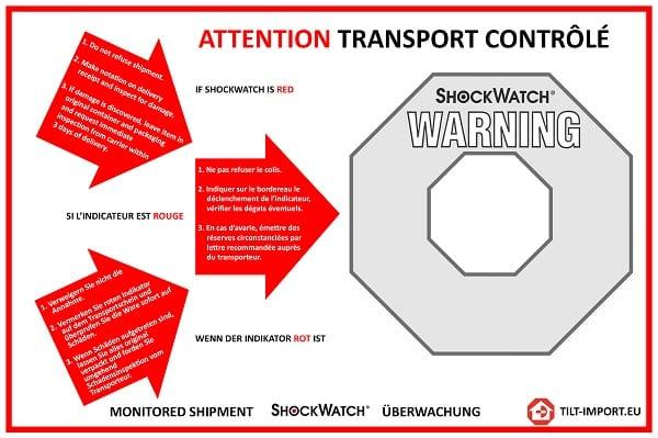Étiquette de positionnement indicateur de choc