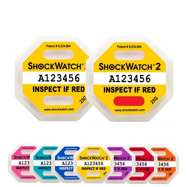 Indicateur de choc non réutilisables ShockWatch2