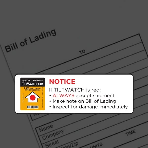 image de la notice d'avertissement de l'indicateur de renversement TiltWatch XTR
