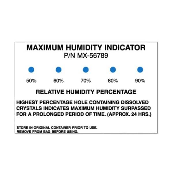 Carte indicatrice d'humidité Irréversible
