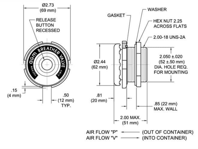 Illustration du manuel pour soupape de régulation de pression pour conteneur